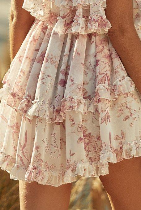 """Adora - Delikatna, asymetryczna sukienka z logowanej tkaniny """"Lou Girls"""""""